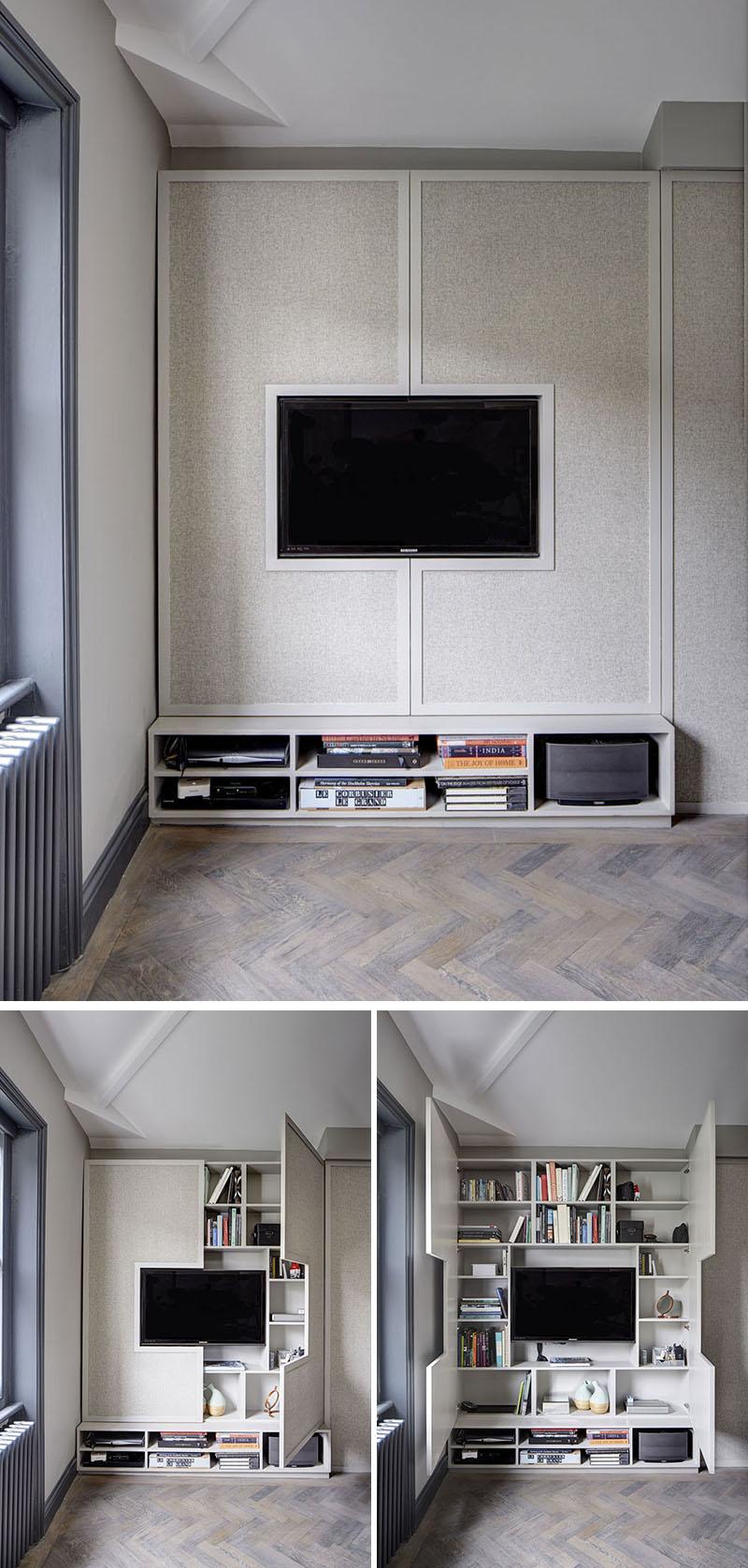 طراحی دیوار پشت تلویزیون با کمد