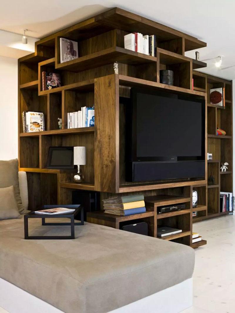 طراحی دیوار پشت تلویزیون با چوب