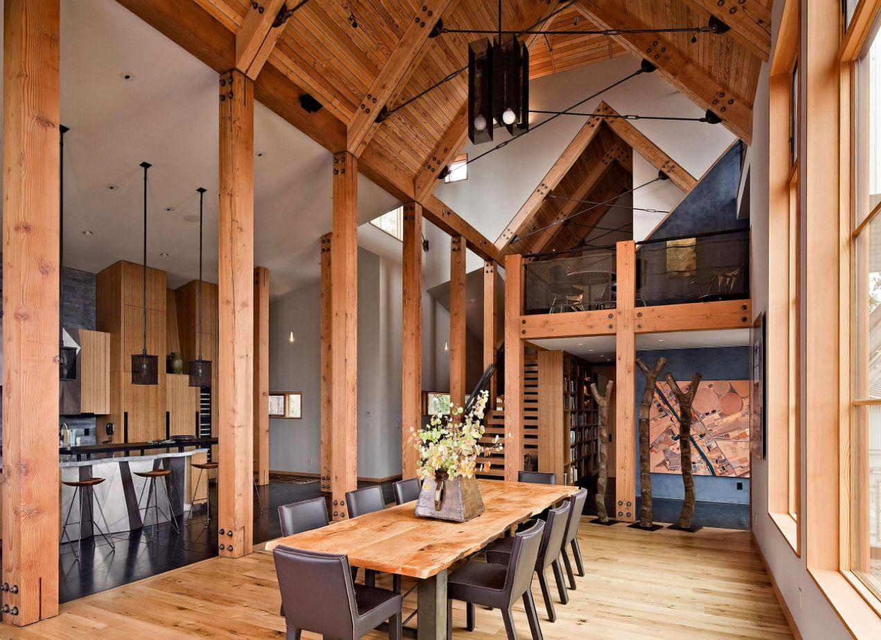 طراحی سقف ویلا با چوب